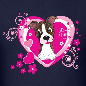 Valentine Pitbull framed in hearts Long Sleeve Shirts - Men's T-Shirt