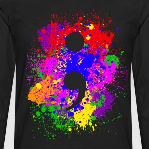 Paint Splatter Semicolon T-Shirts - Men's Premium Long Sleeve T-Shirt