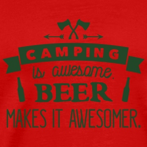 camping is awesome beer makes it awesomer Tank Tops - Men's Premium T-Shirt