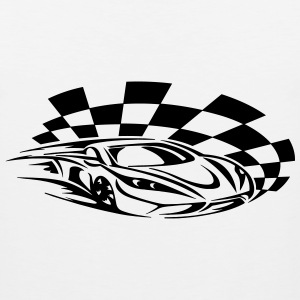 racing car with chequered flag - Men's Premium Tank