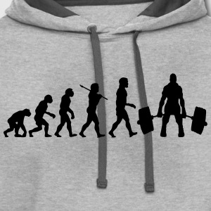 GYM DEADLIFT EVOLUTION WEIGHT LIFTING T-SHIRT - Contrast Hoodie