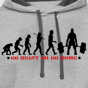 GO HEAVY OR GO HOME GYM DEADLIFT EVOLUTION T-SHIRT - Contrast Hoodie