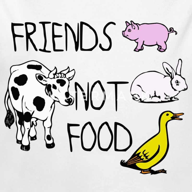 Friends not food - Long Sleeve Baby Bodysuit