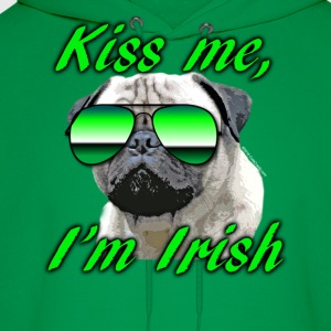 Kiss Me I'm Irish Pug Dog Kids' Shirts - Men's Hoodie