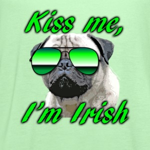Kiss Me I'm Irish Pug Dog Kids' Shirts - Women's Flowy Tank Top by Bella