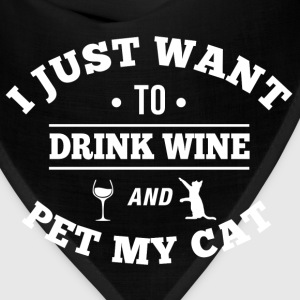 Drink Wine Pet My Cat Women's T-Shirts - Bandana