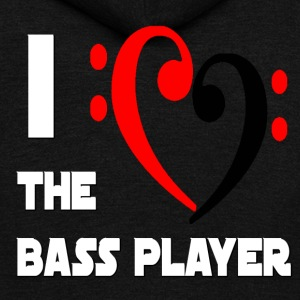 I Heart the Bass Player - Unisex Fleece Zip Hoodie by American Apparel