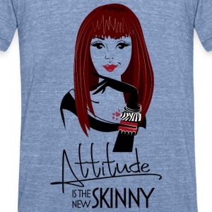 Attitude is the new skinny - blue shirt - Unisex Tri-Blend T-Shirt by American Apparel