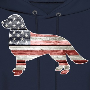 Patriotic Golden Retriever, American Flag - Men's Hoodie