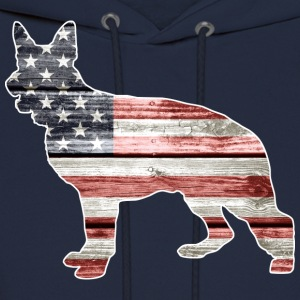 Patriotic German Shepherd, American Flag - Men's Hoodie