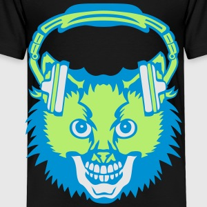 cat mouth audio music skull headphones Kids' Shirts - Toddler Premium T-Shirt