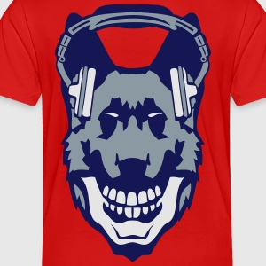 dog audio music skull headphones death Kids' Shirts - Toddler Premium T-Shirt