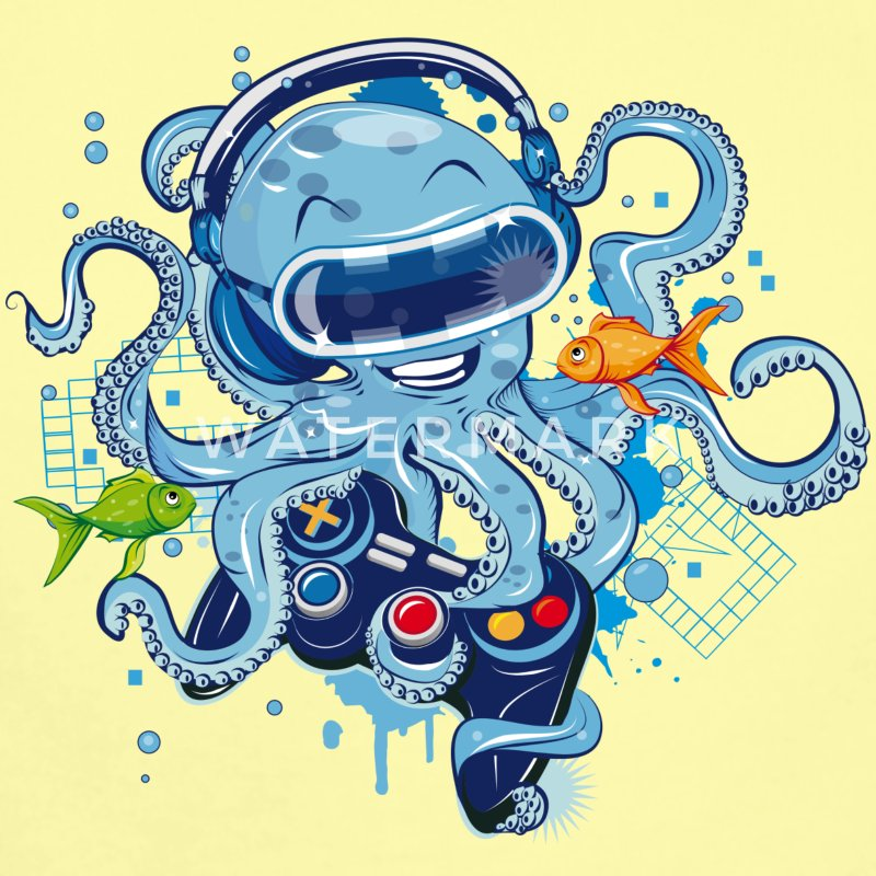 Octopus with gamepad and VR goggles Baby Bodysuits - Short Sleeve Baby Bodysuit