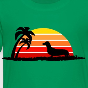 Dachshund on Sunset Beach - Toddler Premium T-Shirt