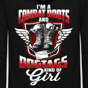 I'M A COMBAT BOOTS-DOGTAGS KIND OF GIRL - Unisex Fleece Zip Hoodie by American Apparel