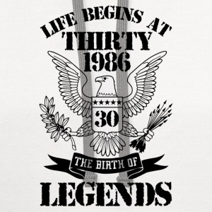 Life Begins At Thirty 1986 The Birth Of Legends T-Shirts - Contrast Hoodie