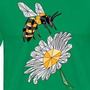 Geometric Bee & Flower Hoodies - Men's Premium T-Shirt