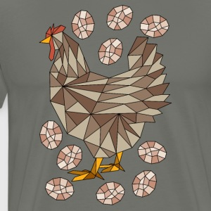 Geometric Chicken And Eggs Hoodies - Men's Premium T-Shirt