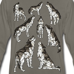 Geometric Wolves Howling At Moon T-Shirts - Men's Premium Long Sleeve T-Shirt