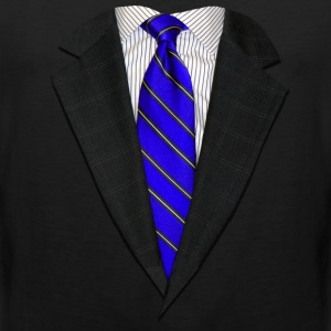 Suit and Tie Real Blue Long Sleeve Shirts - Men's Premium Tank