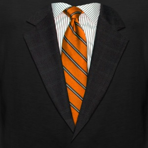 Orange Suit and Tie Long Sleeve Shirts - Men's Premium Tank