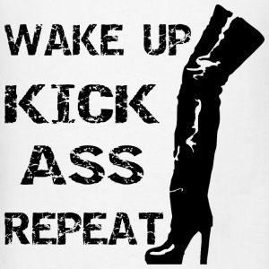 Thigh Boots Wake Up Kick Ass Repeat   - Men's T-Shirt