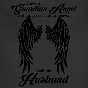 My Husband Is My Guardian Angel she Watches Over  T-Shirts - Adjustable Apron