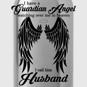 My Husband Is My Guardian Angel she Watches Over  T-Shirts - Water Bottle