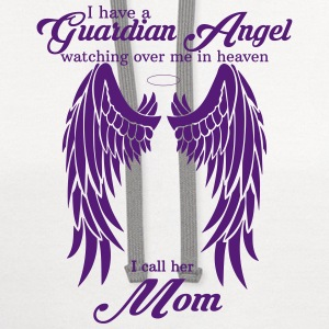 My Mom Is My Guardian Angel she Watches Over My B Women's T-Shirts - Contrast Hoodie