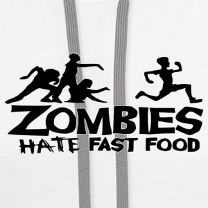 Zombies Hate Fast Food Women's T-Shirts - Contrast Hoodie