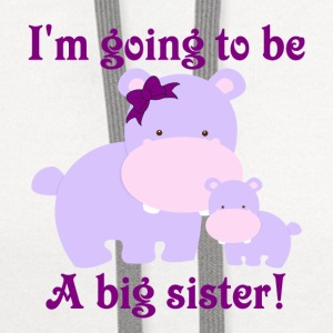 I'm going to be a big sister purple hippos with a  - Contrast Hoodie
