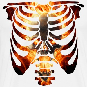 Burning Skull And Rib Cage Long Sleeve Shirts - Men's Premium T-Shirt