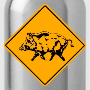 Wild Boar Road Sign T-Shirts - Water Bottle