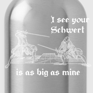 Schwert is as big as mine women's white print - Water Bottle