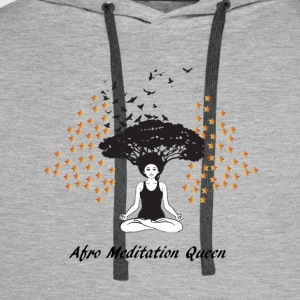 Afro Meditation Queen T-Shirts - Men's Premium Hoodie