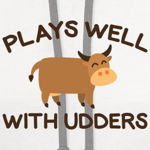 Plays Well With Udders - Contrast Hoodie