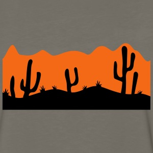 desert evening night sunset sunrise kakten cactus  T-Shirts - Men's Premium Long Sleeve T-Shirt