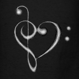 Treble & Bass Clef Heart - Men's T-Shirt