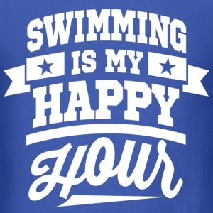 Swimming Is My Happy Hour Long Sleeve Shirts - Men's T-Shirt