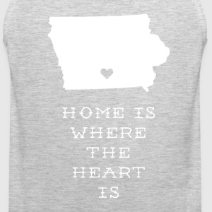 Iowa Home is Where the Heart is State T-shirt T-Shirts - Men's Premium Tank
