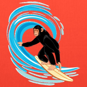 Monkey surfing big tube wave - Tote Bag
