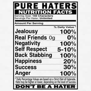 Haters Nutrition Facts Mugs & Drinkware - Men's T-Shirt
