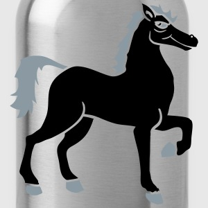 black cool riding horse stallion equestrian comic  T-Shirts - Water Bottle