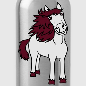 beautiful horse pony stallion riding white comic c T-Shirts - Water Bottle