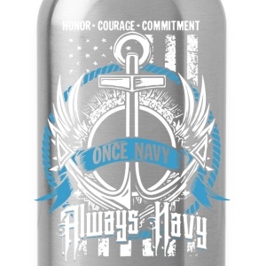 Once Navy  Always Navy - Water Bottle