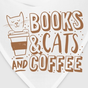 books cats and coffee  Women's T-Shirts - Bandana