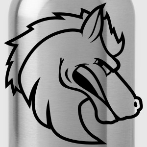 angry angry public stallion logo design cool head  T-Shirts - Water Bottle