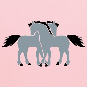 2 horses couple couple love love mare stallion cud T-Shirts - Kids' Hoodie