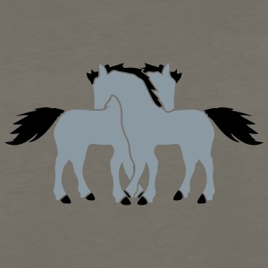 2 horses couple couple love love mare stallion cud T-Shirts - Men's Premium Long Sleeve T-Shirt