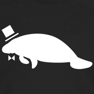 Formal Top Hat & Bow Tie Manatee - Men's Premium Long Sleeve T-Shirt